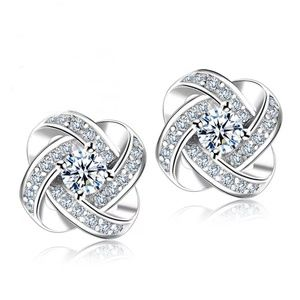 Silver Crystal Stud Earrings